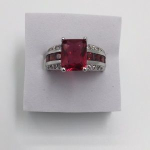 Stamped 925(sterling silver) 3 CARAT RUBY Size 9